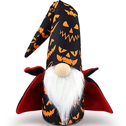 Godeufe Halloween Gnome Handmade Halloween Decorations Witch Bat Cloak Elf Dwarf Figurines Plush Scandinavian Tomte Swedish Ornaments Farmhouse Holiday Home Kitchen Party Decor 17 Inch (Black)