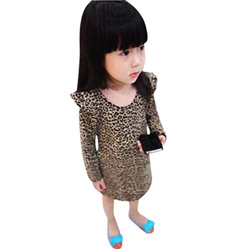 PinkLu Vestido De Leopardo De Las De Fiesta De La Princesa De La Manga Larga del Leopardo del NiñO De La NiñA del NiñO De La Moda