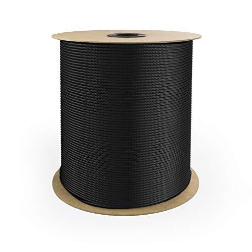 DQ-PP POLYPROPYLENSEIL | 5mm | 100m | SCHWARZ Polypropylen Seil | Tauwerk PP Flechtleine Textilseil Reepschnur Leine Schnur Festmacher Rope Kordel Kunststoffseil Kletterseil geflochten