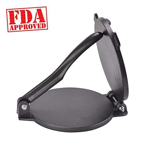 "ARC USA, 0026, 8 inch Cast Iron Tortilla Press, Press surface diameter, Heavy Duty, Even Pressing - FDA Passed Black (8 1/10"")"