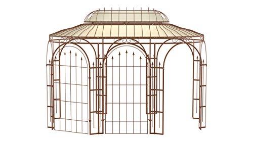 ELEO Verona wunderschöner Gartenpavillon Winterfest mit 2 x Rankgitter Edera I Ovalpavillon Roh Edelrost 4 x 2,85 m I Stabiler Rosenpavillon aus Schmiedeeisen mit Sonnensegel I Pavillon für Garten