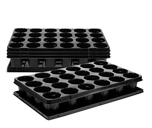 BigDean 4X Anzuchtplatte Pro 24 Pflanzlöcher 7,4 cm & Untersetzer Pflanzschale Anzuchtschale Topfplatte 53 x 31 cm