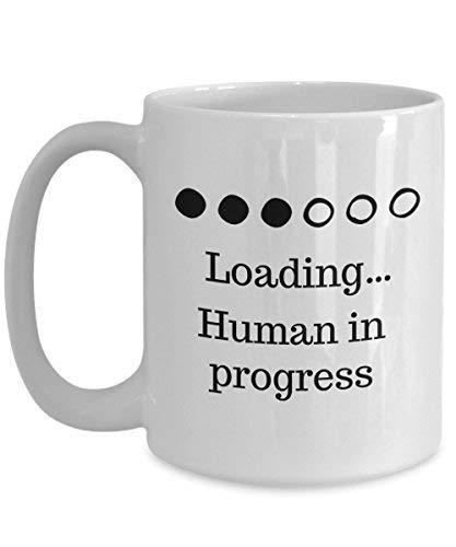 N\A Taza de café Embarazada Divertida. Human in Progress para Familiares, Madres primerizas y Amigos.