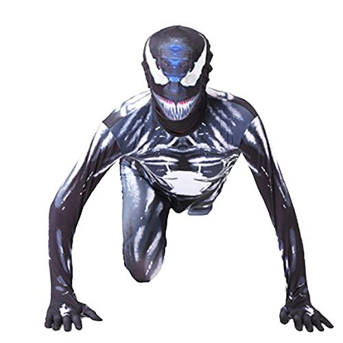 FLJLGY Niños Spiderman Body Onesies Adultos Miles Morales Cosplay Disfraz Niños Halloween Iron Spider Mono Venom Disfraces Medias Black Spider Conjunto Cuerpo,Venom B- Kids 3X 140~150cm