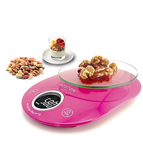 Báscula de cocina Digital Balanza de Precisión para alimentos, Plataforma de vidrio templado fácil de Limpiar, Función TARA y ZERO Pantalla LCD Baterías incluidas Capacidad 5 kg/11 lbs Modelo HK108
