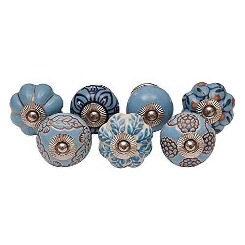 IndianShelf Vocalforlocal Handcrafted Assorted Pack of 10 Artistic Turquoise Knobs Dresser Drawer Knobs Handles Ceramic Cabinet Pulls Cupboard Vintage Mix Combo Designer Gift