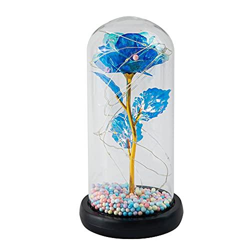 Beauty and The Beast Rose Flower, rosa de seda encantada con cúpula de cristal LED para el día de San Valentín, día de la madre, Navidad, aniversario, decoración del hogar, regalo colorido (azul)