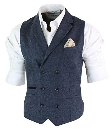 Mens Herringbone Tweed Gatsby Blinders Classic Double Breasted Waistcoat