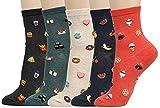 Women's Cool Animal Fun Crazy Socks (Food Porn 5 Pairs),One Size