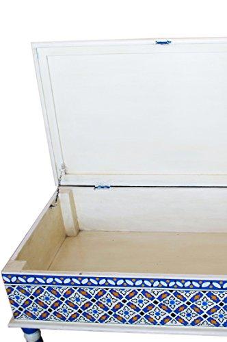 Marokkanischer Tisch Couchtisch Dimana 100cm Bunt | Orientalischer Holz Sofatisch orientalisch handbemalt | Indischer Wohnzimmertisch Truhentisch mit Stauraum | Asiatische Möbel aus Indien - 3
