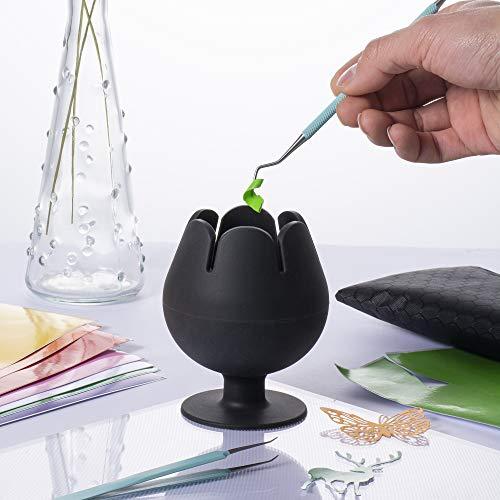 Peirich Organizador de vinilo para desmalezas, con forma de copa de vino, para herramientas y accesorios de cricut, color negro