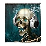 CPYang Duschvorhänge Totenkopf Skelett Kopfhörer Wasserdicht Schimmelresistent Bad Vorhang Badezimmer Home Decor 168 x 182 cm mit 12 Haken