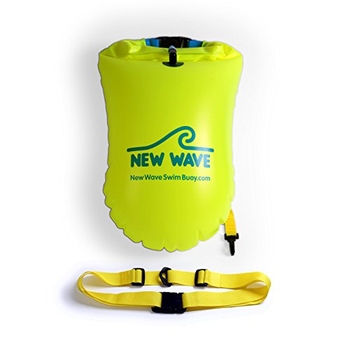 New Wave Swim Buoy for Open Water Swimmers and Triathletes - Light and Visible Float for Safe Training and Racing (Fluo Green PVC Large-20L)