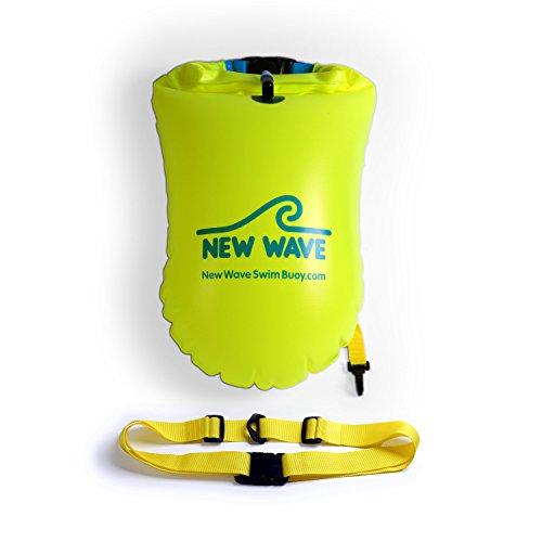 New Wave Swim Buoy La boya para Nadadores y triatletas de Aguas Abiertas. Ligera, Alta Visibilidad y Gran flotabilidad para Entrenamiento o competición