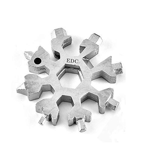 18-in-1 Multi-Tool Snowflake Multi attrezzo Multi attrezzo in acciaio portatile per viaggi in campeggio (Grigio)