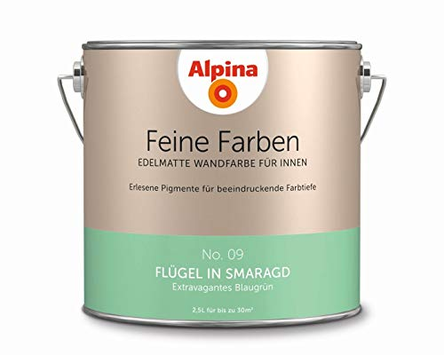 Alpina 2,5 L. Feine Farben, Farbwahl, Edelmatte Wandfarbe für Innen (No.9 Flügel in Smaragd - Extrav
