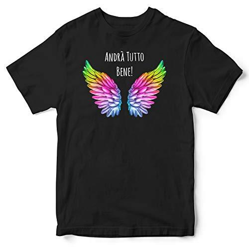 Publiassia Stamperia Andrà Tutto Bene T- Shirt 5N Idea Regalo Maglia Maglietta Autocertificazione Covid 19 Coronavirus pandemia Quarantena 2020#Andràtuttobene #Restiamoacasa (M)