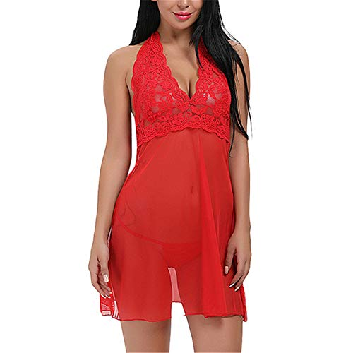 Damen Spitze Negligee V-Ausschnitt Babydoll Lingerie Vorne Offen Nachtwäsche Dessous Set Kleid Spitze Negligee V-Ausschnitt Babydoll Lingerie Kleid Mit Panties D-Red XXL