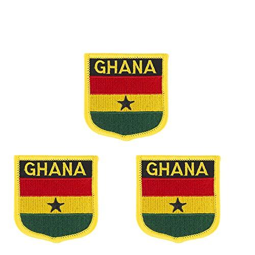 Aufnäher mit Ghana-Flagge, bestickt, zum Aufbügeln oder Aufnähen, 3 Stück