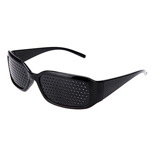 Lochbrille / Rasterbrille zum Augentraining und zur Entspannung, Gitterbrille mit klappbaren Bügeln, Style B, Farbe: Schwarz - von HeavySun