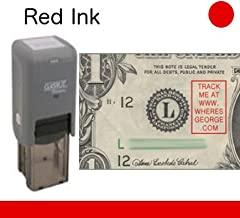 WHERE'S GEORGE? STAMP // Classix/Rectangular // ClassiX PO2 Self-Inking WG Stamp With Classic Style Lettering // Stamp Lets Bill Handlers Know To TRACK THIS BILL [RED INK]