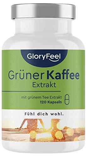 Grüner Kaffee - 120 vegane Kapseln - Mit natürlichem Coffein, Grüner Tee Extrakt und Pfeffer Extrakt - Plus Vitamin B2, B3, B6, Zink & Chrom - Laborgeprüft ohne Zusätze in Deutschland hergestellt