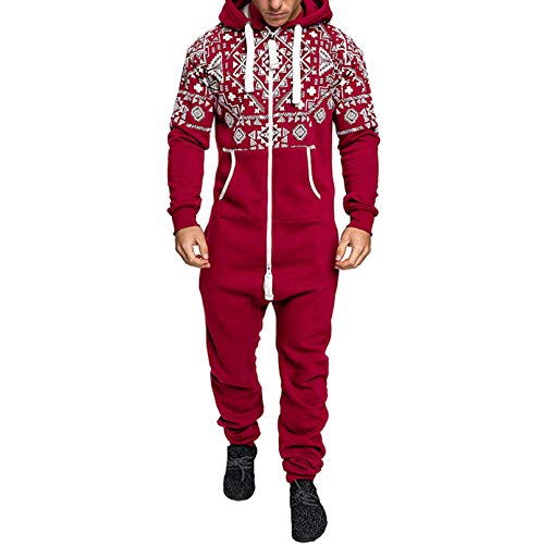 Men's Athletic Tracksuits Hooded Onesie Jumpsuit Long Sleeve Zip Up Playsuit One Piece Romper Activewear Jogger Hoodie (Red, Medium)
