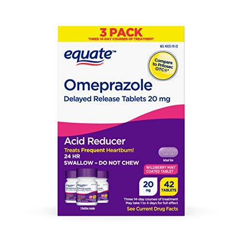 Equate Acid Reducer Omeprazole Wildberry Mint 20 mg 42 Count 3 Pack x 2 Total 84 Count
