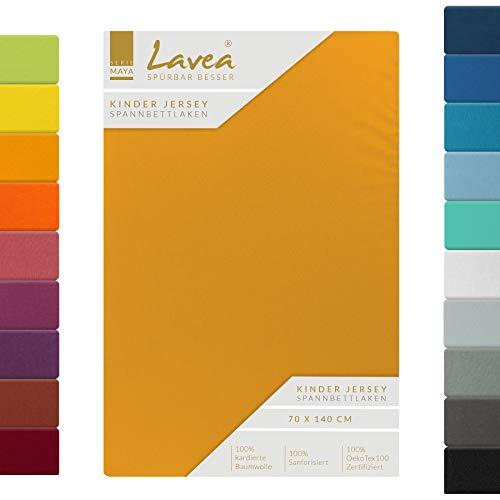 Lavea, lenzuolo in jersey con angoli, serie Maya, 100% cotone, lavorazione di alta qualità, con elastico, certificazione Oeko-Tex 100, Cotone, giallo oro, 60x130cm | 70x140cm