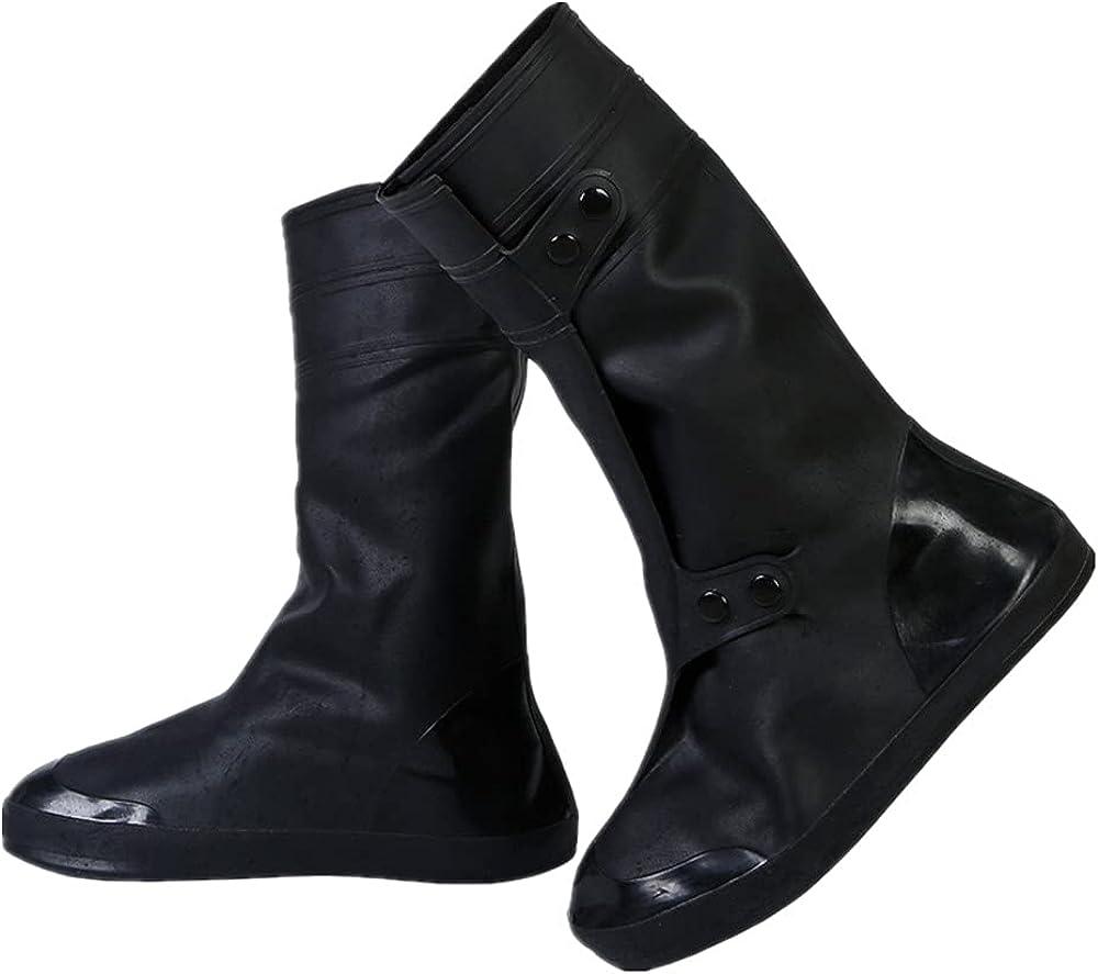 PGOJUNI Womens Wide Calf Boots, Unisex Rain Boots Shoe Covers Reusable Button Lace-up Waterproof Travel Snow Slip Over Shoes