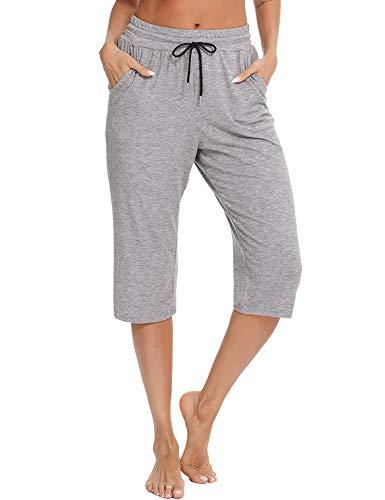 Sykooria Pantalones Deportivos de Algodón Mujer Pantalones Casuales para Correr 3/4 Pantalones de Cintura Alta para Mujer con Cordón Pantalones de Pijama Cómodos y Transpirables-Gris Moteado-M