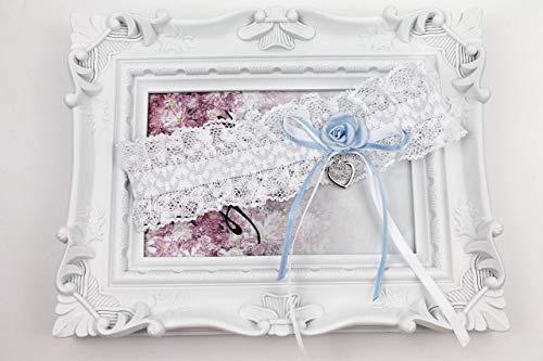 Strumpfband zur Hochzeit mit Schleife blau