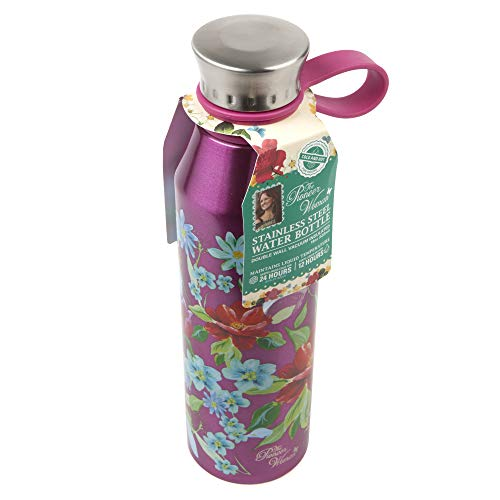 The Pioneer Woman 18oz Double Wall Vacuum Insulated Stainless Steel Water Bottle - Pink Rose w/Flowers