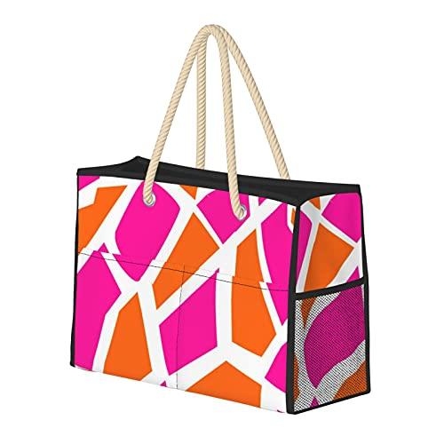 Bolsa de playa grande y bolsa de viaje para mujer – Bolsa de piscina con asas, bolsa de semana y bolsa de noche – Funky Hot Pink Orange Giraffe Print Girly Pattern