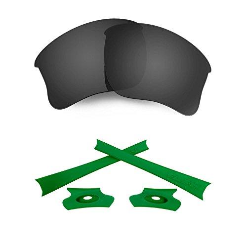 HKUCO For Oakley Flak Jacket XLJ Black Polarized Replacement Lenses And Green Earsocks Rubber Kit