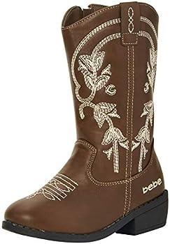 bebe Girls' Western Cowboy Boot with Easy Side Zipper  Toddler/Little Kid/Big Kid  Size 13 Little Kid Brown