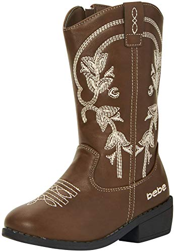 bebe Girls Western Cowboy Boot with Easy Side Zipper, Size 3 Big Kid, Brown''