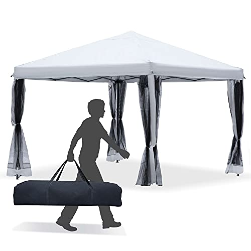 Outsunny 10' x 10' Heavy Duty Pop Up Canopy with Removable Mesh Sidewall Netting, Easy Setup Design, Outdoor Party Event with Storage Bag, Cream White