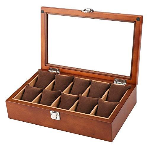 GFF Holz-Uhrenbox für 10 große Herrenuhren, moderner Organizer für Uhrengehäuse in Holzoptik mit massiver Holzplatte und geräumigem Innenraum für große Uhren