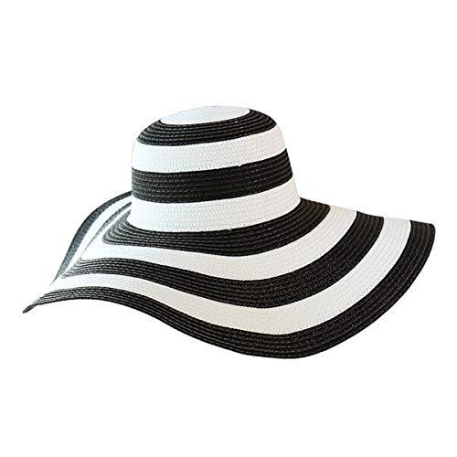 HELUTYMBeach Donna Sole Fiocco Protezione Solare Protezioni per Esterno Outdoor Donna Classico Cappello di Paglia a RigheCopricostume daSpiaggia aTesa Larga02