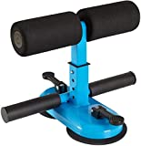 Sit Up Bar Sit Up Assistant Equipment with 2 Suction Cups and 4 Positions, Portable Adjustable Sit-Ups Foot Holder Abdomen Exerciser Household Fitness Equipment for Body Building (Blue)