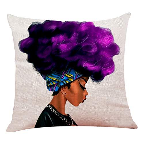 Sylar Funda de cojín de Almohada Cuadrada Africana, Fundas de cojín para Mujeres africanas Fundas de Almohada Decorativas para el hogar