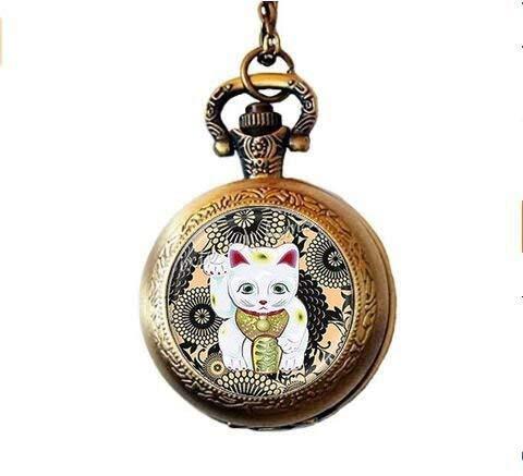 Collier montre de poche avec pendentif chat chanceux - Bijou chat porte-bonheur - Photo d'art en...