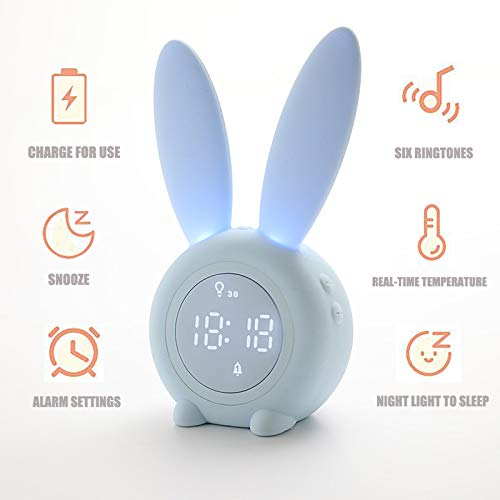 Bunny Kids Alarm Clock,Night Light for Kids, Night Light Alarm Clock with 6 Groups of Ringtone,Touch Control and Digital Thermometer,Sleep Timer with 2000mAh Rechargeable Clocks for kids room (Blue)