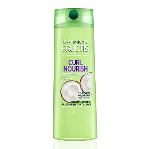 Garnier Fructis Curl Nourish Sulfate-Free and Silicone-Free Shampoo Infused with Coconut Oil and Glycerin, System for 24 Hour Frizz-Resistant Curls, 12.5 fl. oz., Packaging May Vary