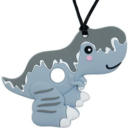 Collar de dentición personalizado con nombre de bebé, colgante de mordedor de dinosaurio para dentición de bebés y niñas (gris)