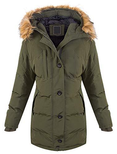 Rock Creek Warme Damen Winter Jacke Parka Steppjacke Winterjacke Mantel Gesteppt Damenjacken Outdoor Jacken gefüttert Kurzmantel D-407 Dunkelgrün XL