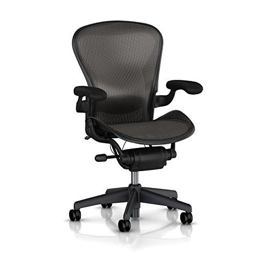 Herman Miller Classic Aeron Task Chair: Standard Tilt - Lumbar Pad - Fixed Vinyl Arms - Standard Carpet Casters