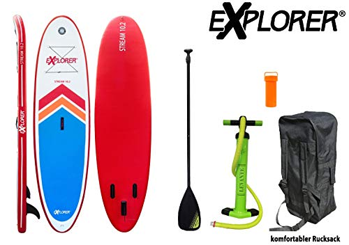 EXPLORER SUP STREAM ( 10.2 ) 310 x 86 x 12 cm Inflatable Isup aufblasbar Alu-Paddel Stand Up Paddle Board Set Pumpe Surfboard Aqua Paddelset