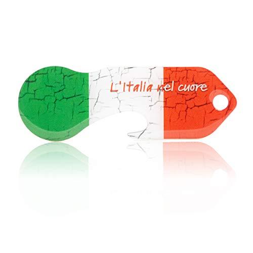 Einkaufswagenlöser Code24 Italien, Schlüsselanhänger mit Einkaufschip & Schlüsselfinder, inkl. Registriercode für Schlüsselfundservice, Einkaufswagenchip mit Profiltiefenmesser, Key Finder